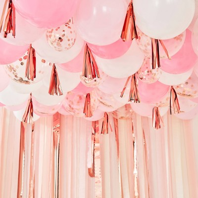 Balloon Ceiling with Tassels Pink/White
