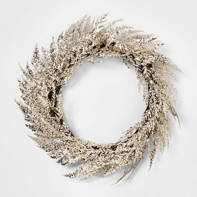 24in Unlit Cedar Artificial Christmas Wreath Champagne Glitter - Wondershop™