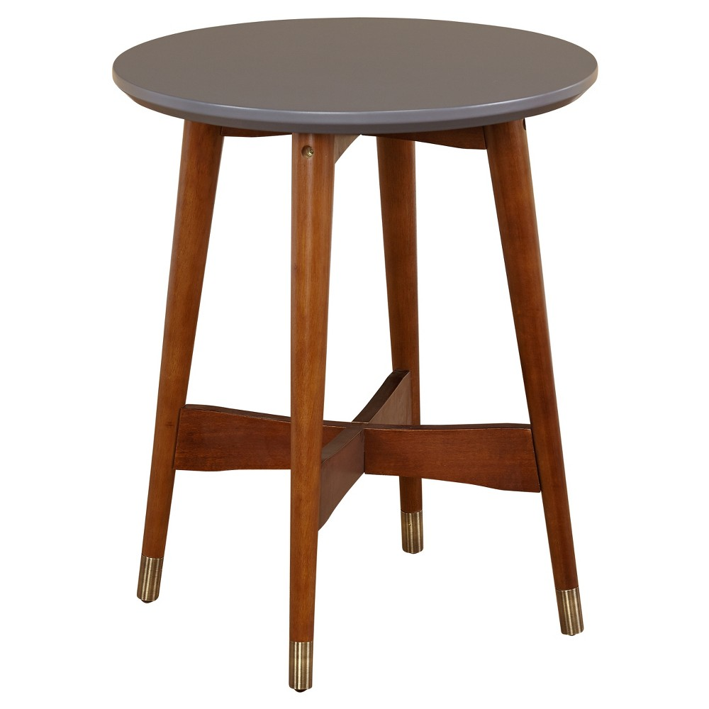 Image of Allen End Table - Gray/Walnut - Angelo:Home, Gray Brown