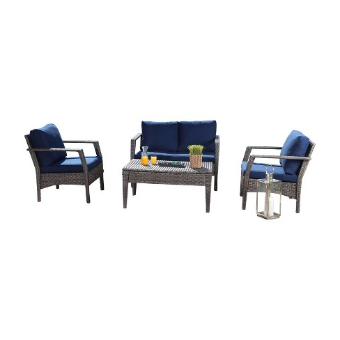 Arcadia Outdoor Wicker 4pc Patio Seating Set - Gray /Navy - Abbyson Living - image 1 of 4