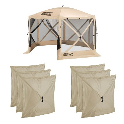 CLAM Quick-Set Escape 12 x 12 Foot Portable Pop Up Camping Outdoor Gazebo 6 Sided Canopy Shelter + 6 Pack of Wind and Sun Panels