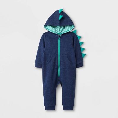 Baby Boys' Long Sleeve Hooded Dino Romper - Cat & Jack™ Blue 6-9M