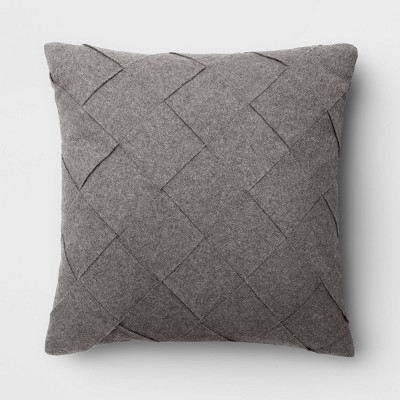 Basket Weave Square Throw Pillow Gray - Project 62™