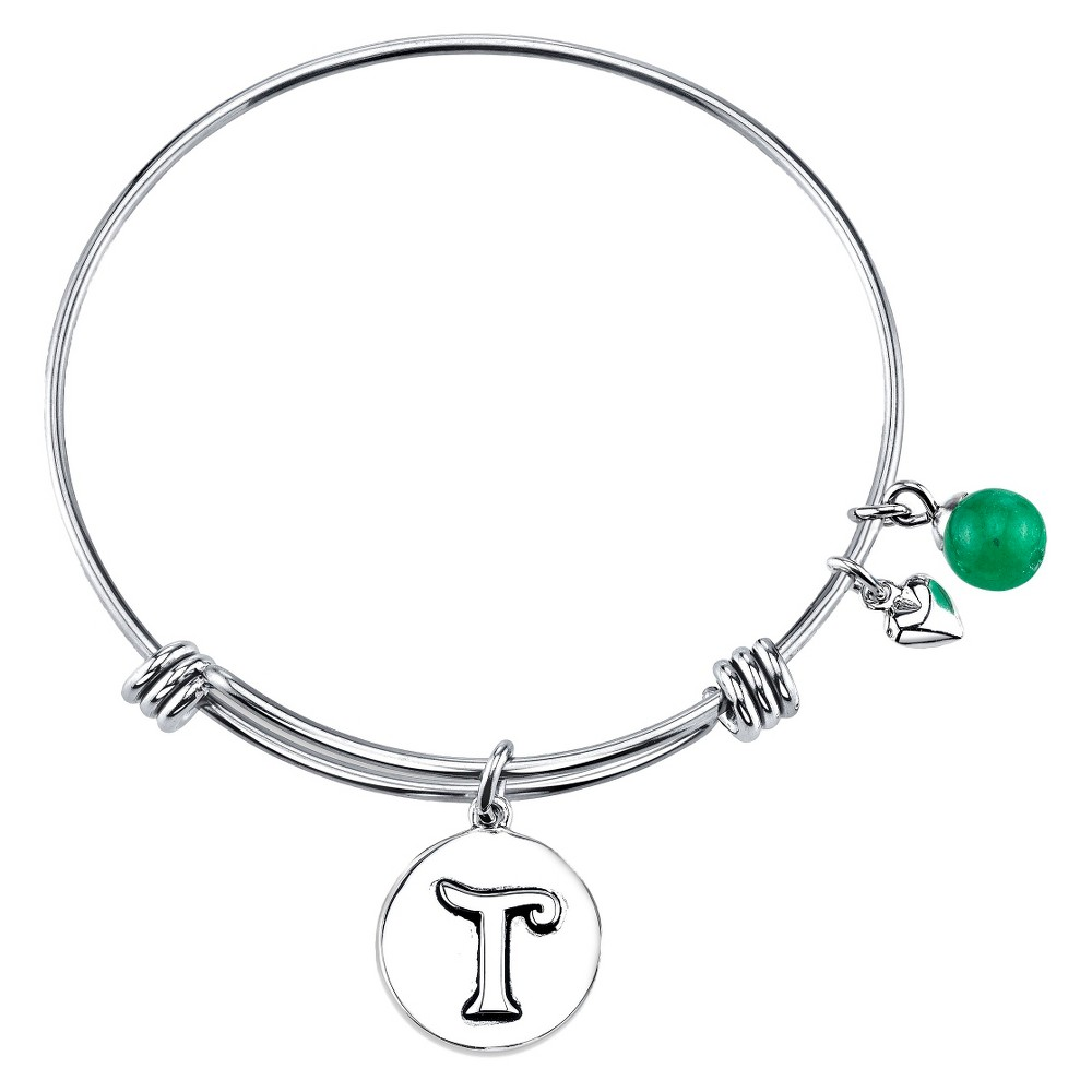 Stainless Steel Expandable Bracelet Initial B - Silver (8), Women's