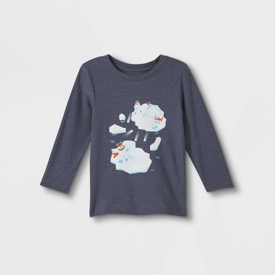 Toddler Boys' Yeti Snowball Fight Graphic Long Sleeve T-Shirt - Cat & Jack™ Blue
