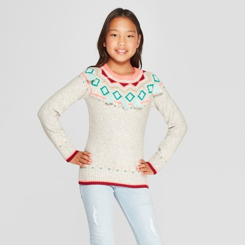 Girls' Fair Isle Sweater - Cat & Jack™ Gray - image 1 of 3