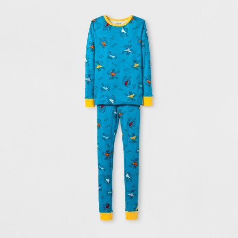 Boys' Robot Graphic Tight Fit Pajama Set - Cat & Jack™ Blue - image 1 of 1