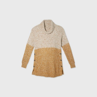 Maternity Colorblock Cowl Neck Button-Side Sweater - Isabel Maternity by Ingrid & Isabel™ Tan S