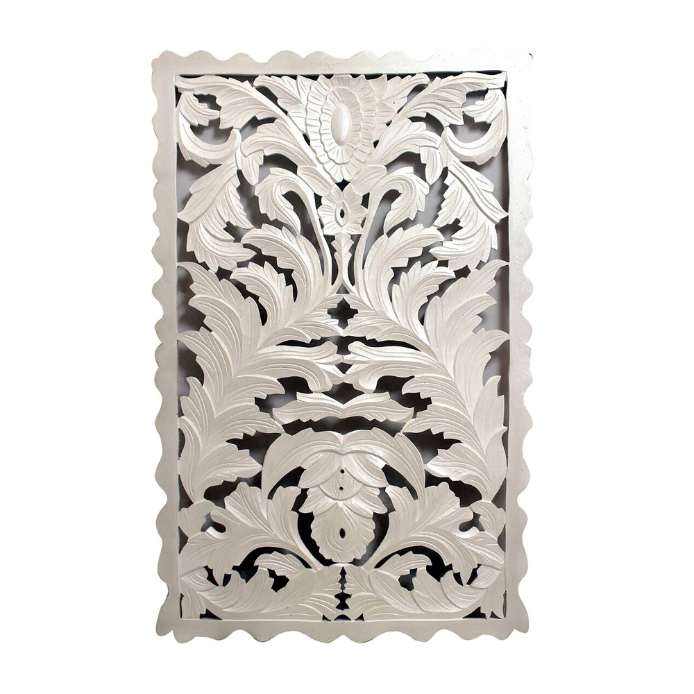 "Image of ""48""""x30"""" Carved Out Wood Panel White - A&B Home"""