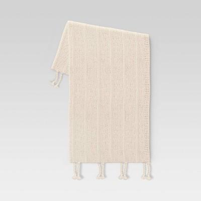 "50""x60"" Braided Tassel Knit Throw Blanket Cream - Threshold™"