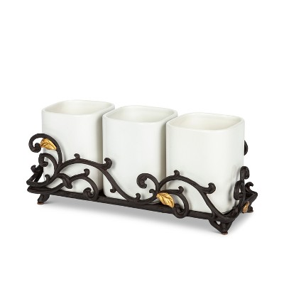 GG Collection Gold Leaf Ceramic 3-vase Flatware Caddy with Espresso Brown Vines and Gold Leaf Accented Base