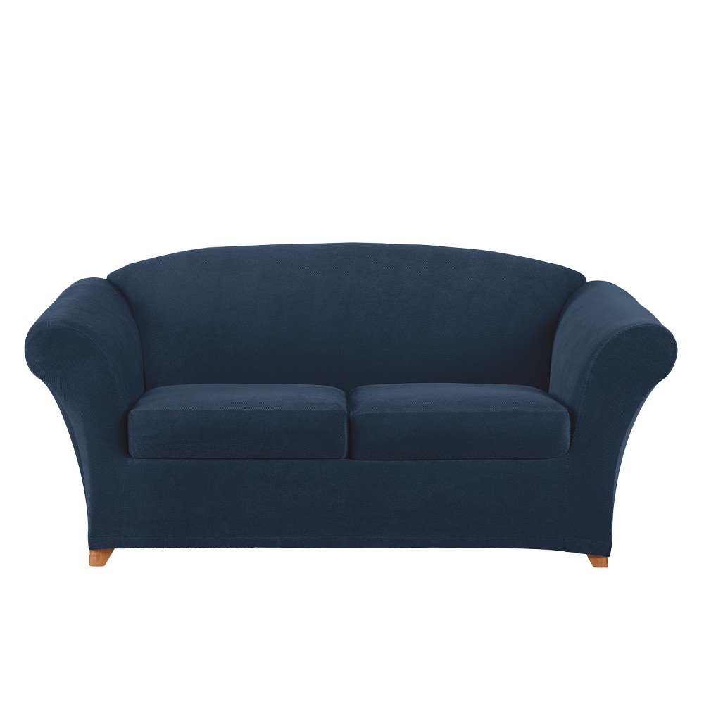 Image of 3pc Stretch Pique Loveseat Slipcover Navy - Sure Fit