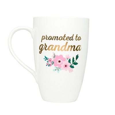 Pearhead Promoted to Grandma Ceramic Mug Floral Drinkware - White