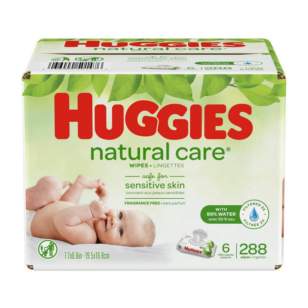 Huggies Natural Care Fragrance Free Baby Wipes - 288ct Care for your baby's delicate skin from the very start with Huggies Natural Care Baby Wipes. Safe for sensitive skin, Natural Care Wipes contain 99 percent triple-filtered water for a pure, gentle clean. Plus, they are pH-balanced to help maintain your newborn's natural skin barrier and enriched with aloe and vitamin E to help keep skin healthy and conditioned. The #1 branded wipe*, Huggies Wipes are dermatologically tested and hypo-allergenic. In addition, Natural Care sensitive wipes are fragrance-free, alcohol-free and paraben-free, and they contain no phenoxyethanol or Mit. Size: 288ct.
