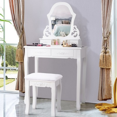 Costway White Vanity Jewelry Wooden Makeup Dressing Table Stool