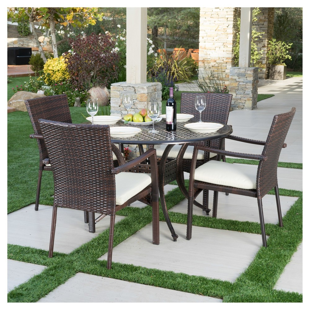 Emerald 5pc Round Metal Patio Dining Set with All-Weather Wicker Chairs - Shiny Copper/Brown - Christopher Knight Home