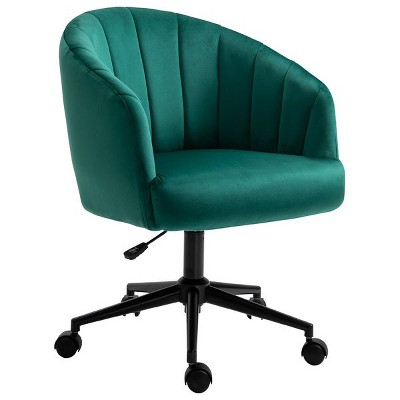 HOMCOM Retro Mid-Back Swivel Fabric Computer Desk Chair Height Adjustable with Metal Base Leisure Task Chair on Rolling Wheels for Home Office Green