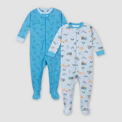 Gerber Baby Boys' 2pk Stars 100% Cotton Footed Unionsuit - Blue 9M