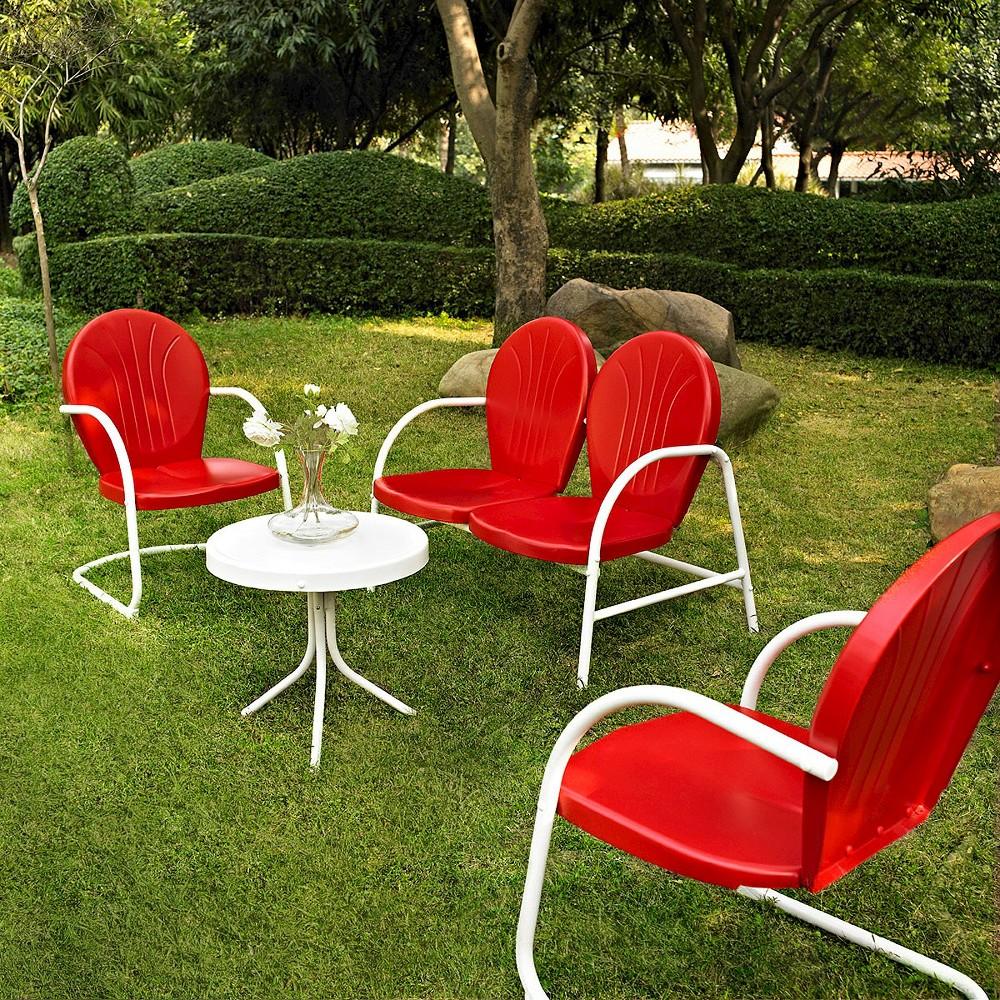 Griffith 4-Piece Metal Patio Conversation Furniture Set - Red
