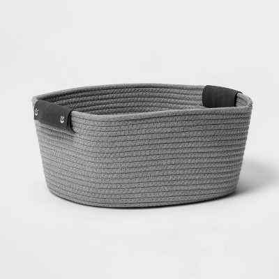 "13"" Half Coiled Rope Basket Gray - Threshold™"