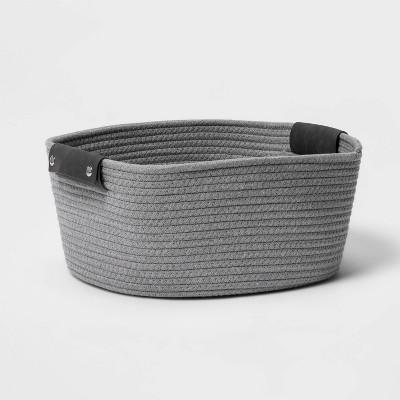 "13"" Half Coiled Rope Basket Gray - Threshold™"