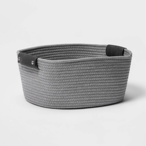 "13"" Half Coiled Rope Basket Gray - Threshold™ - image 1 of 4"