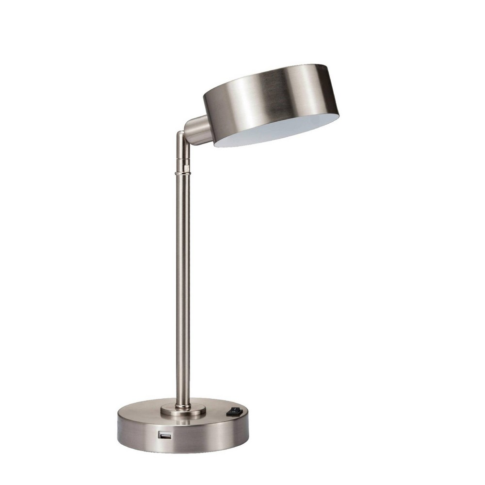 Image of Cambert Flexible Table Lamp with Usb Port Silver (Includes Energy Efficient Light Bulb) - Ore International