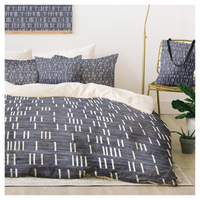 Gray Holli Zollinger Bogo Denim Mudcloth Duvet Cover Set (Twin XL) - Deny Designs