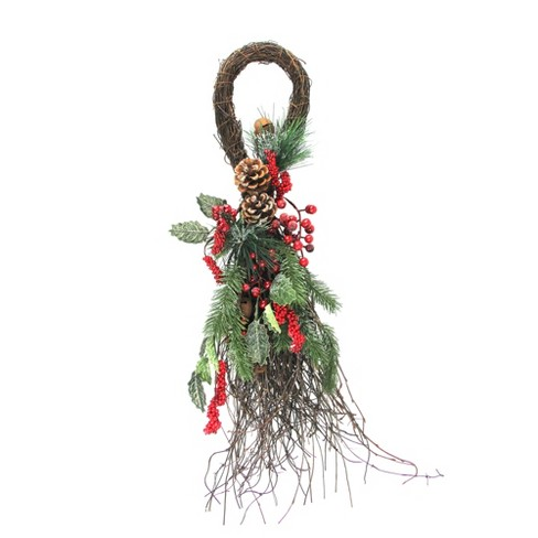 """Northlight 24"""" Unlit Frosted Berries, Pine Cones, and Evergreen Sprigs Artificial Christmas Teardrop Swag - image 1 of 2"""