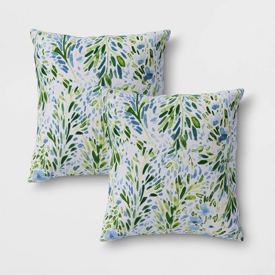2pk Sammamish Floral Outdoor Throw Pillows DuraSeason Fabric™ Blue - Threshold™