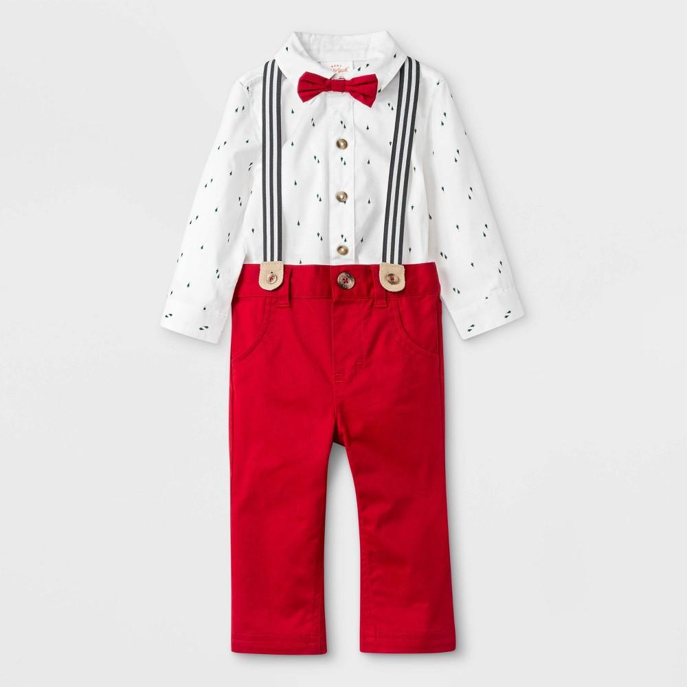 Image of Baby Boys' 2pc Tree Print Top & Bottom Set - Cat & Jack Cream/Red 0-3M, Boy's, Ivory/Red