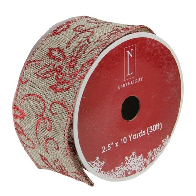 """Northlight Club Pack of 12 Red and Beige Burlap Wired Christmas Craft Ribbon Spools - 2.5"""" x 12 Yards"""