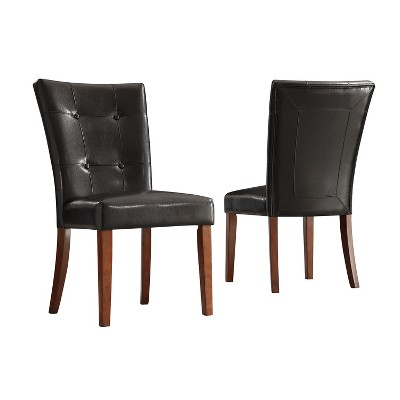 Alexandra Tufted Vinyl Side Chairs - Dark Brown (Set of 2) - Inspire Q