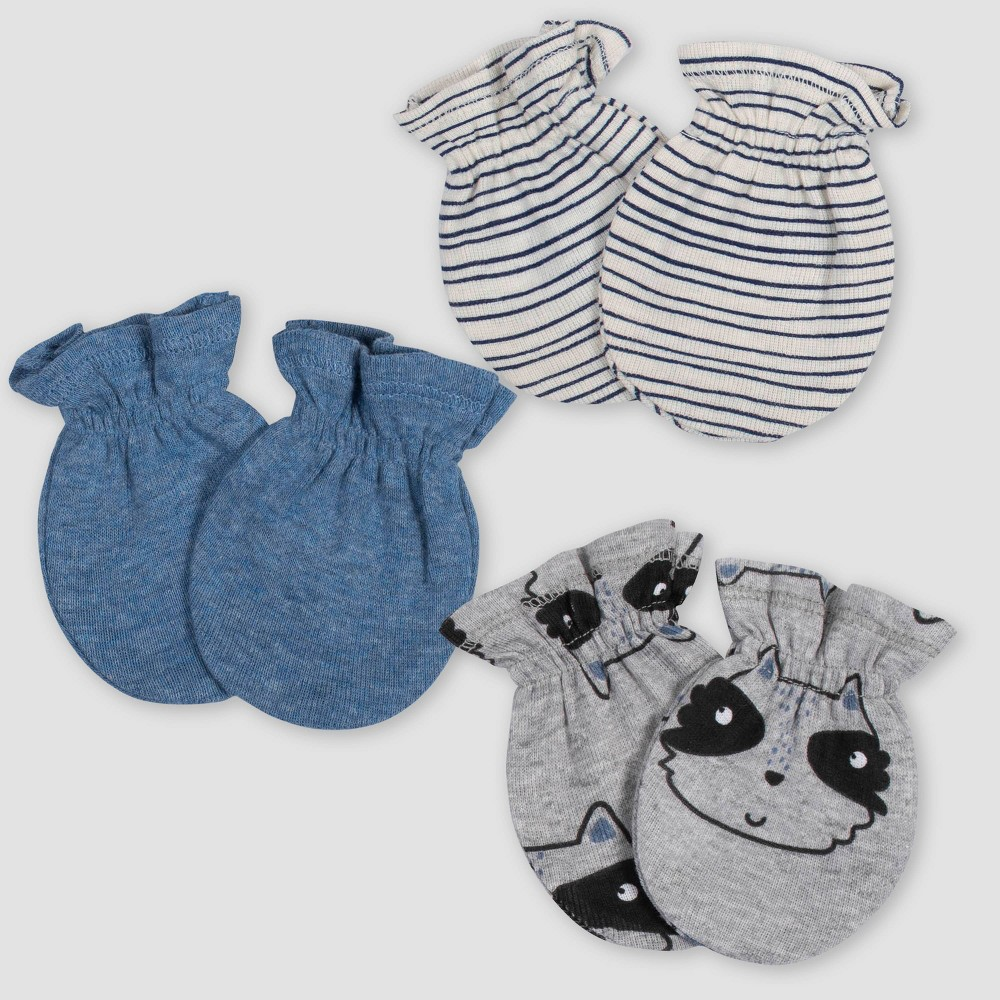 Image of Gerber Baby Boys' 3pk Raccoon Mittens - Blue/Gray 0-3M, Boy's, Size: Small