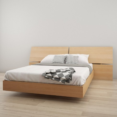 Stockholm Platform 2pc Bed and Headboard Queen Natural Maple - Nexera - image 1 of 3