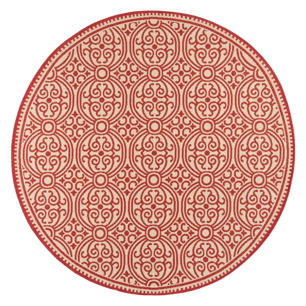 6'7 Medallion Loomed Round Area Rug Red/Cream (Red/Ivory) - Safavieh