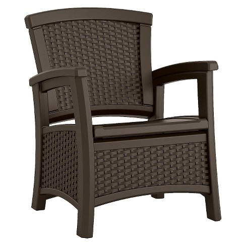Outdoor Patio Furniture With Storage.Suncast Elements Resin Patio Storage Club Chair