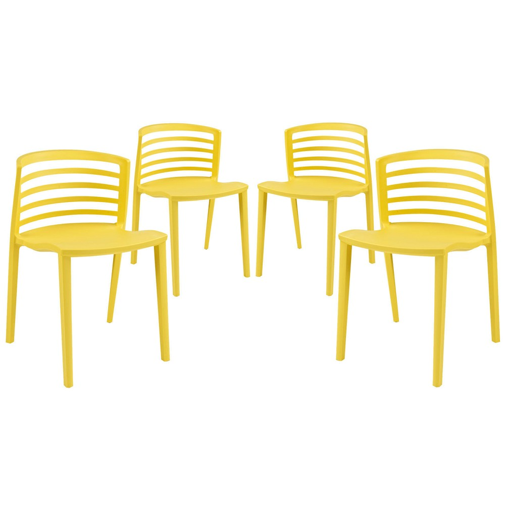 Curvy Dining Chairs Set of 4 Yellow - Modway
