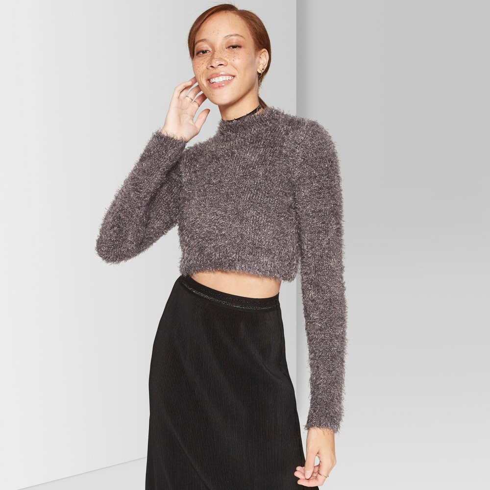Women's Fuzzy Cropped Mock Neck Sweater - Wild Fable Gray M