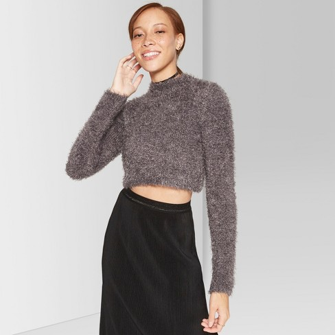 5c1bd060699 Women's Fuzzy Cropped Mock Neck Sweater - Wild Fable™ Gray S : Target