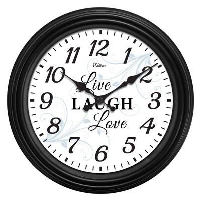 """12"""" Live Love Laugh Dial with Black Case Wall Clock"""