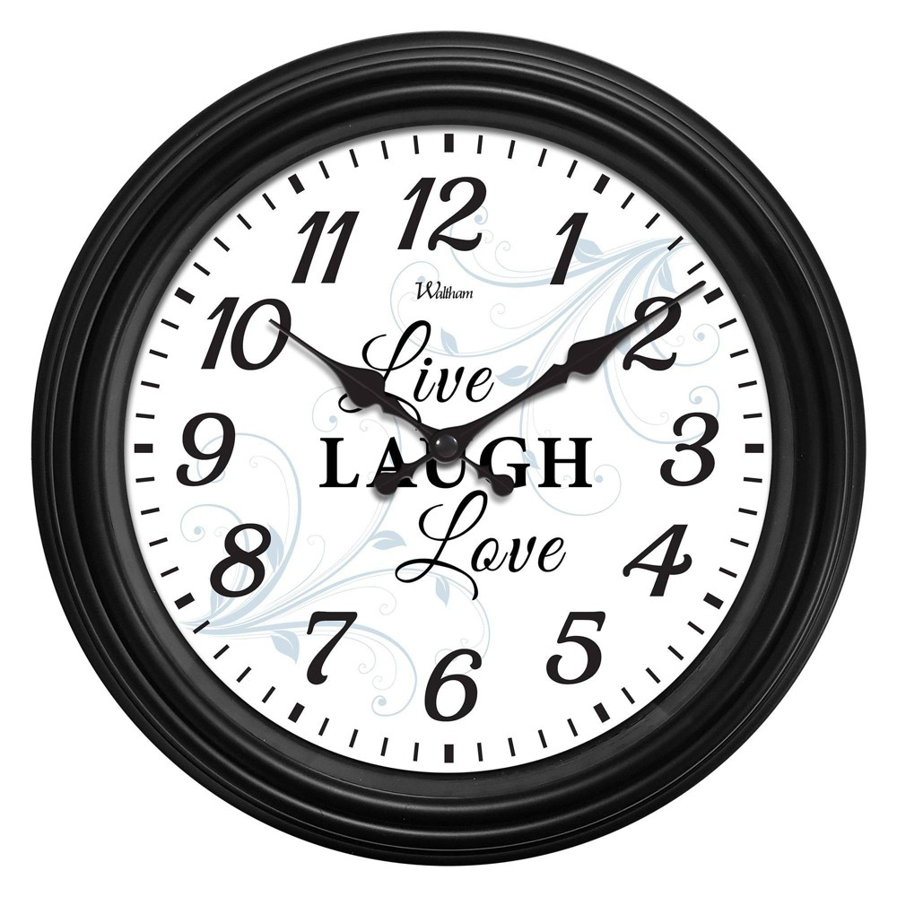 "Image of ""12"""" """"Live Love Laugh"""" Dial with Black Case Wall Clock - MZB, White Black"""