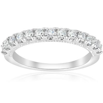 Pompeii3 1/2ct U Prong Diamond Milgrain Wedding Ring 14k White Gold