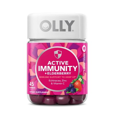 OLLY Active Immunity + Elderberry Support Gummies - Berry Brave - 45ct