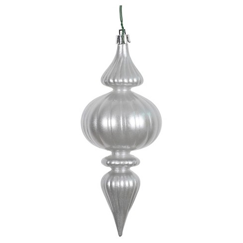 6ct Silver Finial Drilled Christmas Ornament Set - image 1 of 1