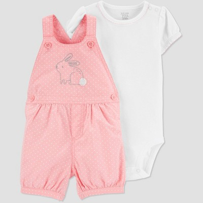 Baby Girls' 2pc Bunny Shortall Set - Just One You® made by carter's Pink 6M