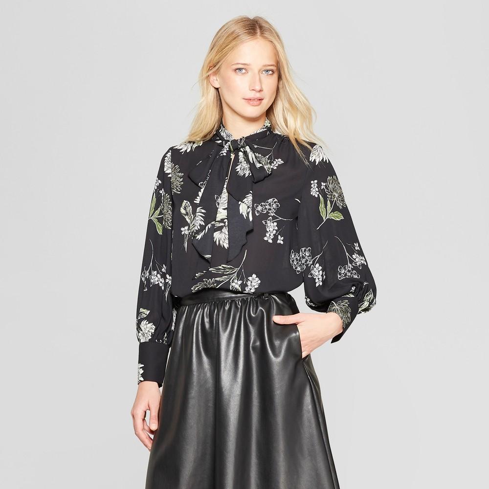 Women's Floral Print Long Sleeve Tie Neck Drapey Blouse - Who What Wear Black/Cream M, Black/Cream Floral Print