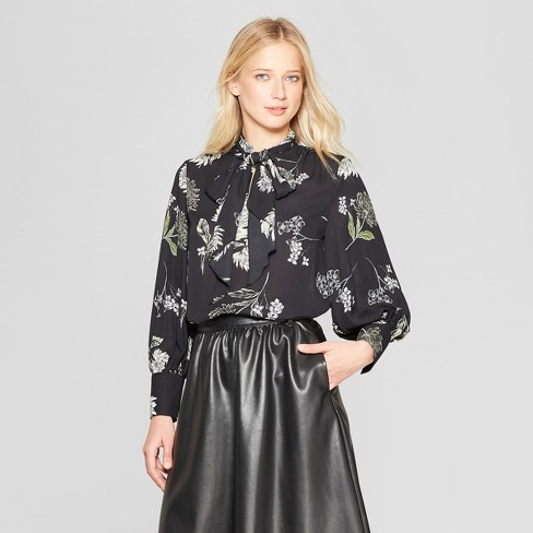 Women's Floral Print Long Sleeve Tie Neck Drapey Blouse - Who What Wear™ Black/Cream L - image 1 of 3