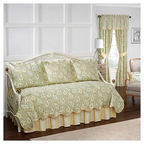 Paisley Verveine Quilt Set Daybed Green 5pc Waverly