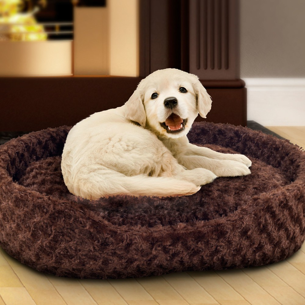 Petmaker Medium Cuddle Round Plush Pet Bed - Brown